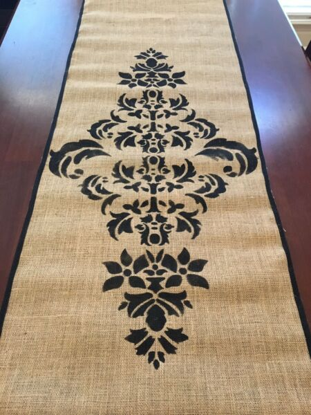 Handmade Burlap Table Runner w Black Damask Stenciling Ribbon Edge