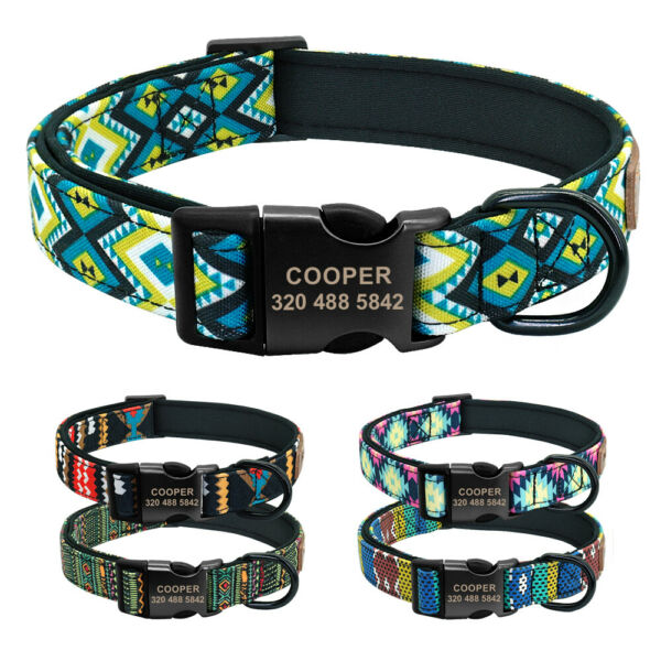 Personalized Dog Collars Custom ID Name Tags Engraved Soft Padded Collar Bulldog $11.99