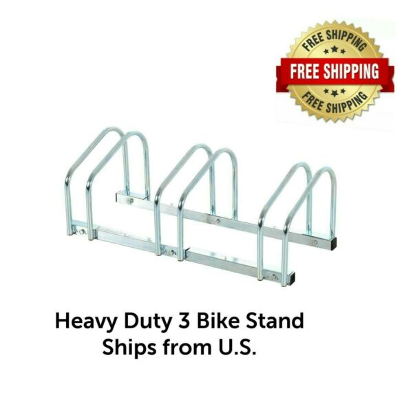 3 Bike Floor Bike Stand Silver Bicycle Rack Stand Parking Mounted Holder $36.99