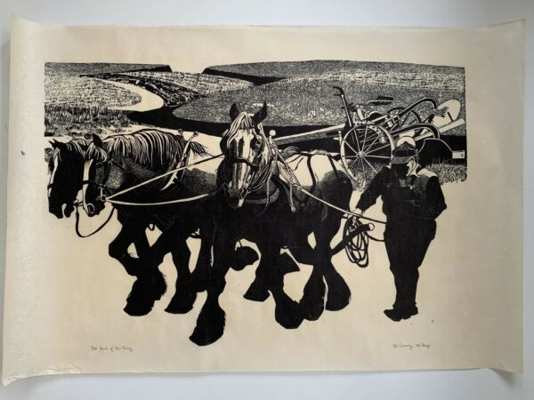 Large 1988 Danny Pierce Woodblock Woodcut Print End of the Day Edition 110