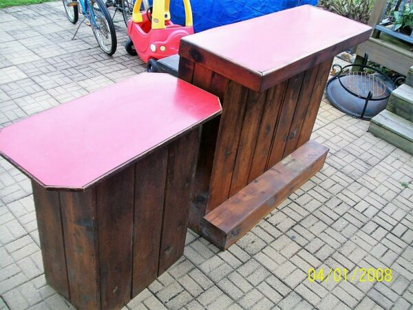 Rustic Handmade Wood Two Bars Small amp; Large 49quot; T x 19quot; D amp; Three Stools