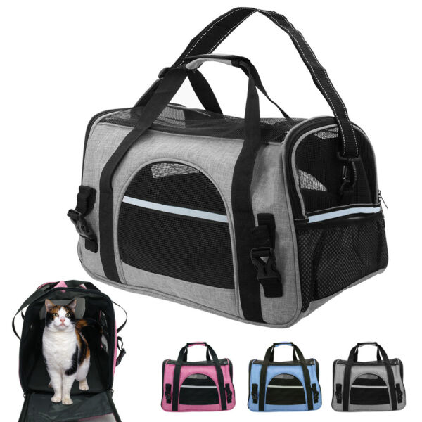Soft Sided Pet Cat Dog Carriers Totes Bag Oxford Travel Crate Airline Approved $38.99