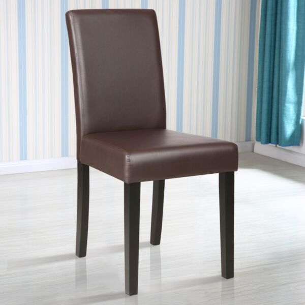 Set of 4 Upholstered Dining Chairs Padded Chair for Kitchen Furniture Brown