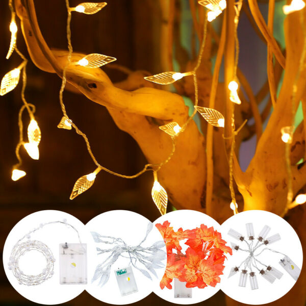 LED Leaves Garland Fairy String Lights Battery Operated Wedding Christmas Party