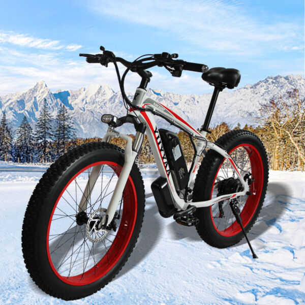 Red 21-Speed 26inch E-Bike Electric Bike Beach Snow Bicycle Fat Tire Cool