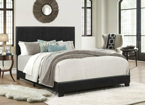 Crown Mark Erin Faux Leather Bed Black Multiple Sizes $209.99