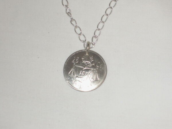 Antique Scales of Justice coin necklace 18quot; chain