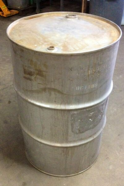 Stainless Steel Drum 55 gallon Heavy Duty Closed Top Barrel Excellent Condition $375.00