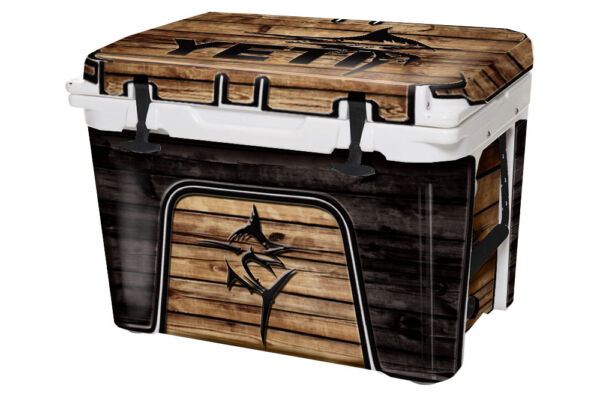 Cooler Wrap Accessories Decal Sticker fits YETI Tundra 45 FULL Marlin Wood $66.95