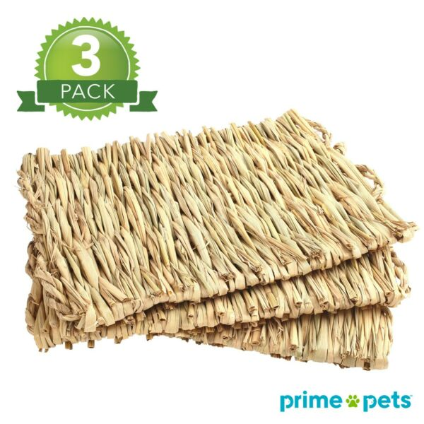 3Pcs Grass Mat Woven Pet Bed for Rabbits Small Animal Bunny Nest Chew Play Toy