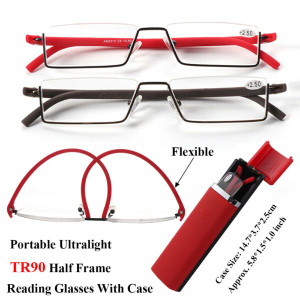 Unisex Portable Flexible Ultralight TR90 Half Frame Reading Glasses With Case US