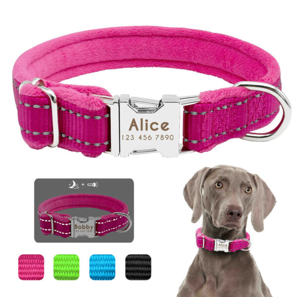 Reflective Dog Personalized Collar Soft Fleece Padded Engraved ID Name Tag S M L $10.99