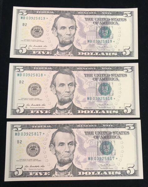 Three 2013 Sequential $5 Federal Reserve Notes