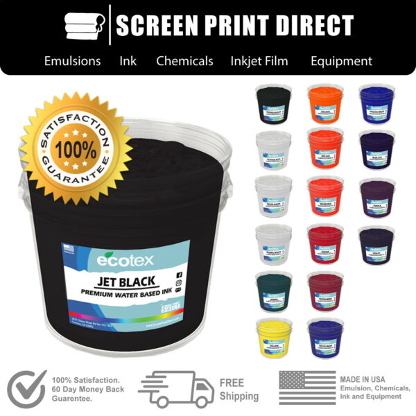 Ecotex® Water Based Ink For Screen Printing  - 17 Color  All Sizes