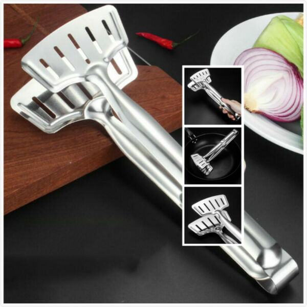 Stainless Steel Steak Clip Barbecue Tongs Shovel Gripper Fried Steak Clamp Tongs