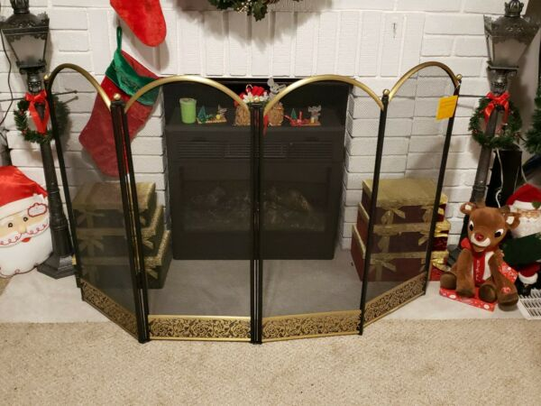 Style Selections Fireplace Screen Black &Antique Brass 4 Panel Hinged Heavy Duty