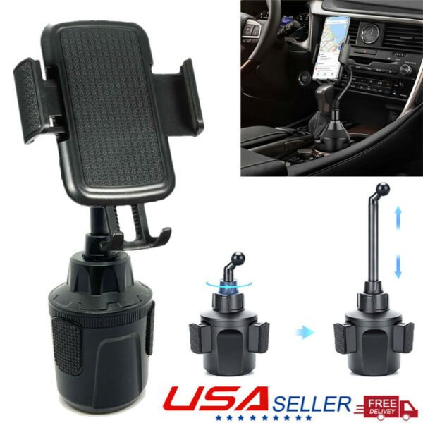 Weather- 360° Gooseneck Cup Holder Car Mount Cradle for Cell Phone Adjust-Tech