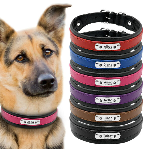 Personalized Dog Leather Collar for Medium Large Dog Name ID Tag Engraved Boxer $20.99