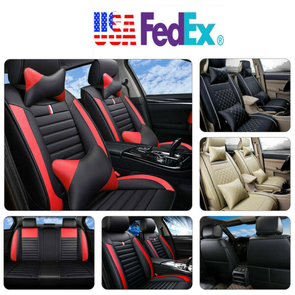 Universal 5 Seats Full Set Car SUV Seat CoverPillows Full Surrounded PU Leather $69.82