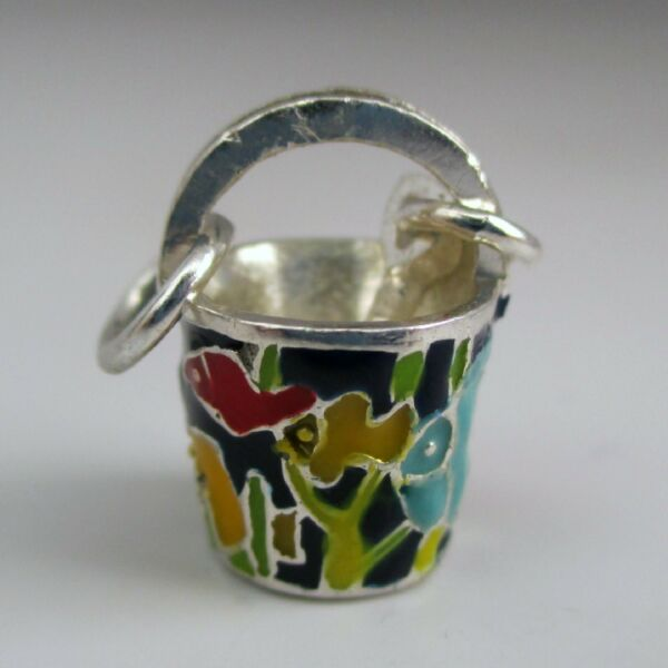 Sterling Silver SAND PAIL Charm for Bracelet FISH Hand Enameled BEACH Jewelry