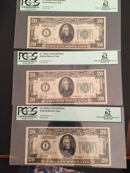 Fr 2054a I 1934 THREE Consecutive $20 DGS Federal Reserve Notes Uncirculated N