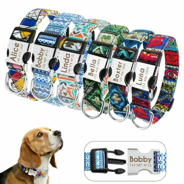 Colorful Dog Personalized Collar Custom ID Nameplate Engrave for Small Large Dog $8.99