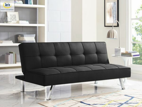Sleeper Sofa Bed BLack Convertible Couch Modern Living Room Futon Loveseat Chair $157.26