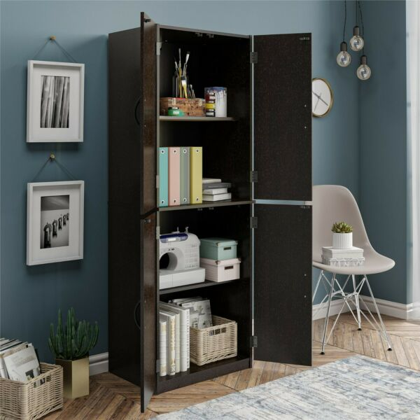 Kitchen Pantry Storage Cabinet Cupboard Organizer Wood Tall Shelves Black