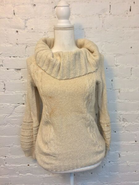 Sleeping on Snow Anthropologie Chunky Cowl Neck Cable Sweater Cream M