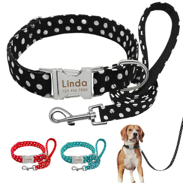 Polka Dots Dog Personalized Collar and Leash Custom Name ID Tags Laser Engraved $13.99