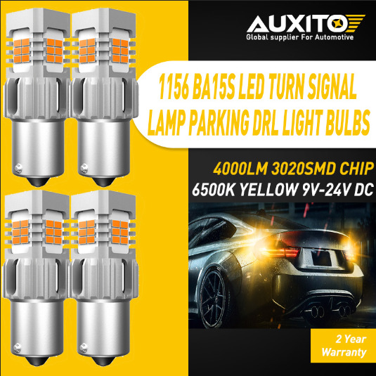 4X 1156 P21W 7506 1156A No Hyper Flash CANBUS Amber LED Turn Signal Lights Bulbs