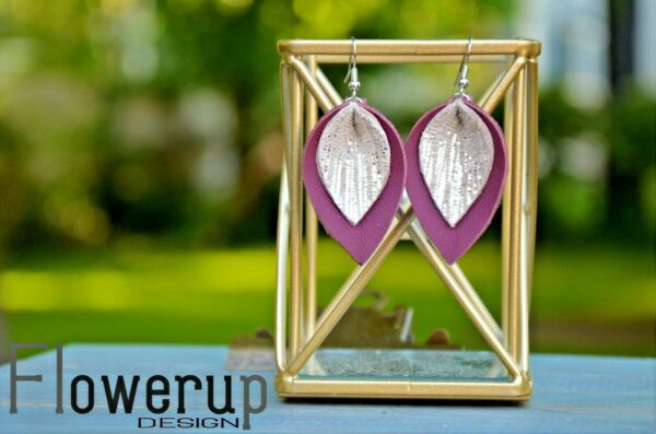 Lightweight maroon silver real leather statement pinched leaf earrings