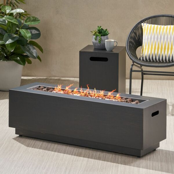 Jefferson Outdoor Rectangular Fire Pit with Tank Holder $363.96
