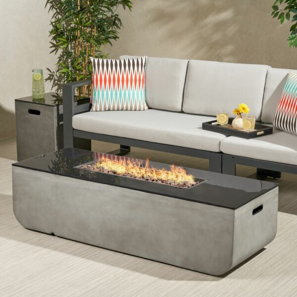 Laini Outdoor 56-Inch Rectangular Fire Pit with Tank Holder