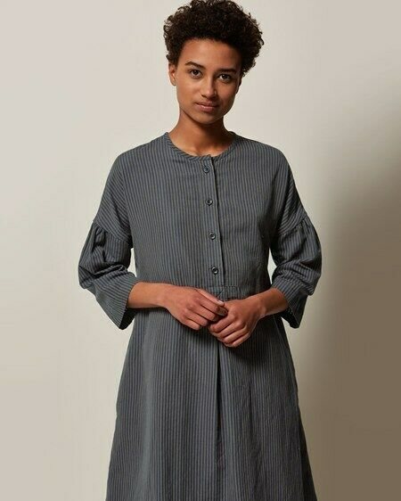 Toast Stripe Cotton Linen Tunic Dress Colour KhakiBlue Size UK 8