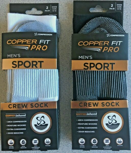2 PAIRS MEN COPPER FIT Compression Sport Crew Socks Black or White Grey Sz 6 12