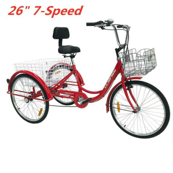Red 26''Adult Tricycle Trike 3-Wheel Cruise Bike w/Double Basket For Shopping US