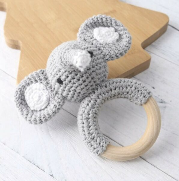 Eco-Friendly Wooden Crochet Teether Non-Toxic Natural Elephant Baby Teething