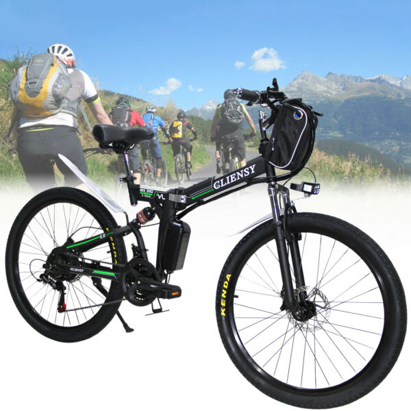 26'' Electric Bike Folding E-Bike Adult Mountain Bicycle 36V 21Speed 350W Gift