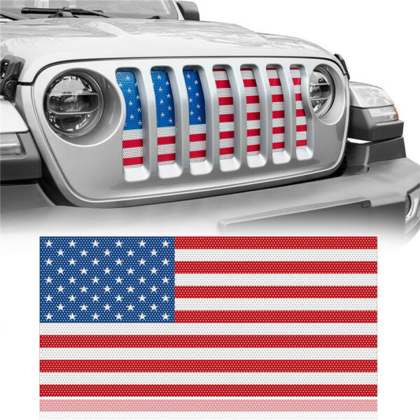 US American Flag Grill Insert Bug Screen Grille for 2018-2020 Jeep Wrangler JL