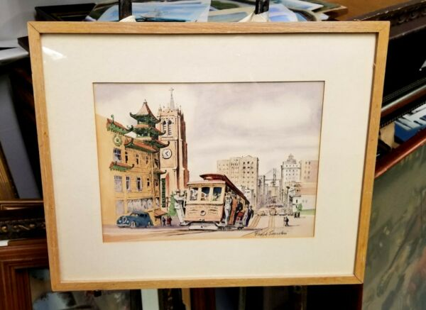 Original Cable Car # 1 Painting Well Listed Frank Serratoni Signed Framed