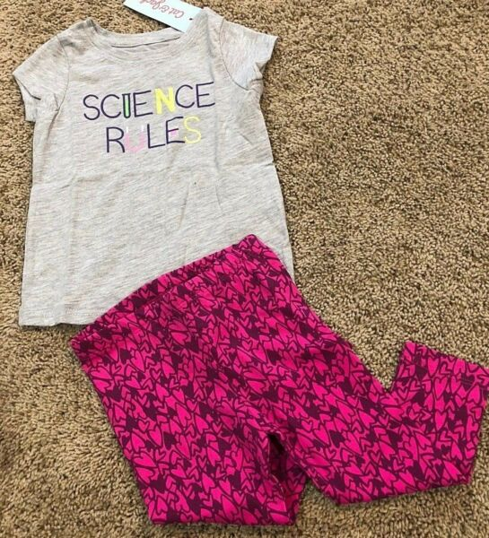 Girls Gray Short Sleeve Top Pink Hearts Pant 2pc 18 Months
