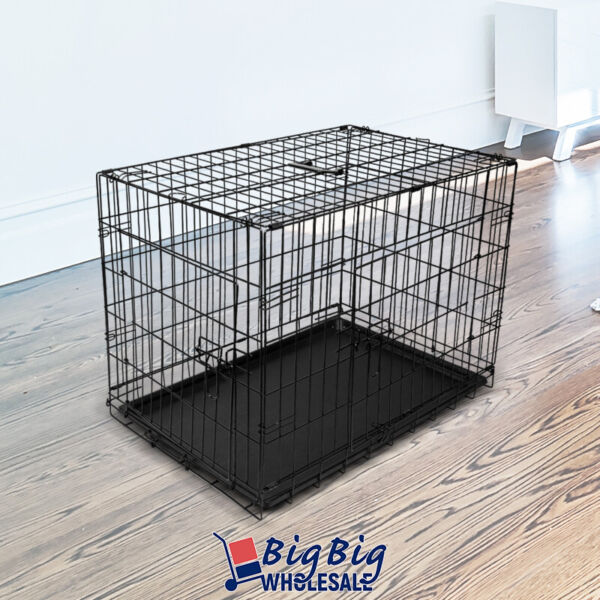24quot; Small Portable Folding Black Dog Crate Pet Cage Pen Kennel 2 Doors w Tray $27.99