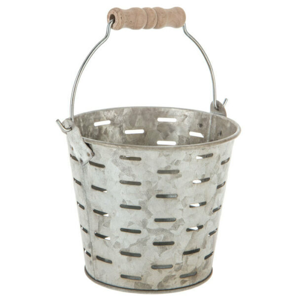 Antique Gray Metal Olive Bucket. Country Home Decor Shabby Chic.