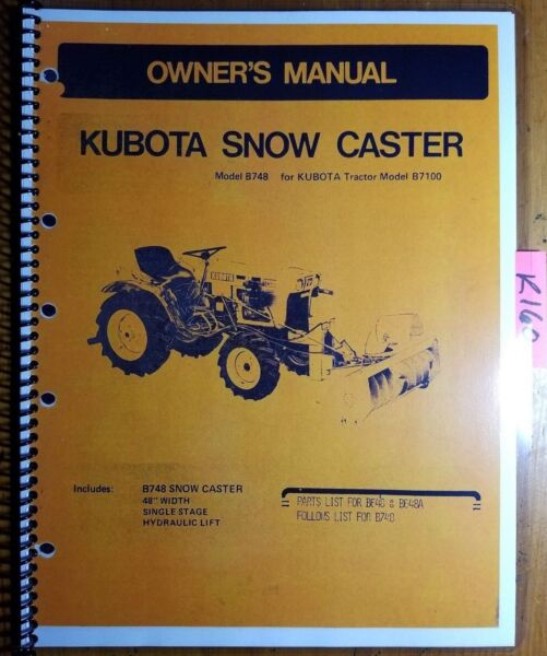Kubota B748 Snow Caster Snowblower for B7100 Tractor Owner Operator Parts Manual