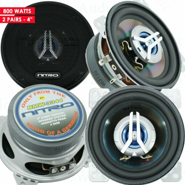 4x Nitro BMW 3344 400 Watts 4quot; Car Audio 2 Way 4 Ohms 4 Inches Coaxial Speakers $42.99