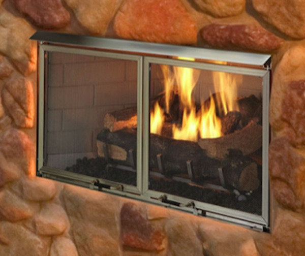 Majestic Villa 42 Gas Outdoor Fireplace with Log Set & Stainless Steel Grate