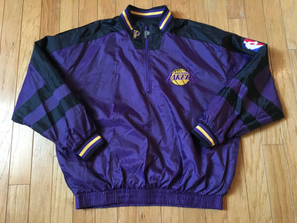 VINTAGE LOS ANGELES LAKERS 1990's PRO PLAYER HIP HOP NBA REVERSIBLE JACKET XL!