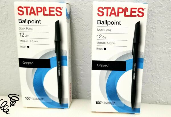 2 Pack Staples Ballpoint Stick Pens 12 Count 1.0 mm Black Ink Gripped