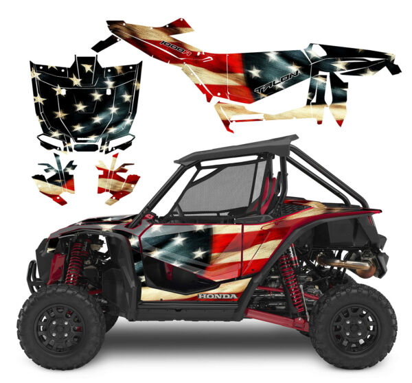 Honda Talon 1000X 1000R graphics kit custom premium wrap U.S. Tattered Flag